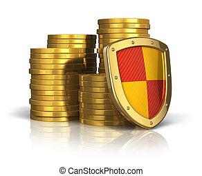 stabilität, begriff, finanziell, versicherung,...