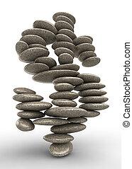 stabiliteit, symbool, dollar