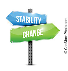 stability and change road sign illustration