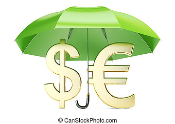 Stability and protection currency. Financial, business and insurance concept, 3D rendering