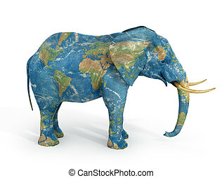 Stability concept. Elephant painted in texture of world. 3d illustration