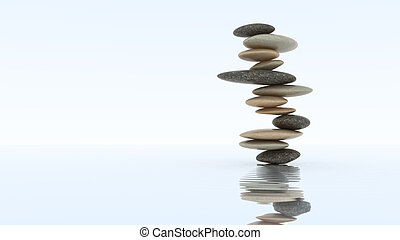 Stability concept. Pebble stack on water
