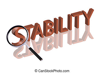 stability search - Magnifying glass enlarging part of red 3D...