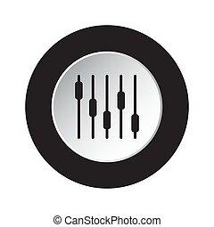 stabilizator, symbol, -, mieszanie, czarnoskóry, biały, okrągły, ikona
