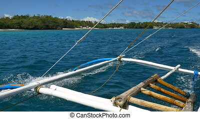 Banca boat trip in Philippines - Stabilized shot of the...