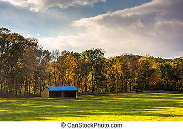 Stable and autumn colors in rural York County, Pennsylvania.