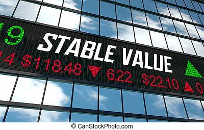 Stable Value Fund Safe Investment Smart Protect Money Market Ticker 3d Illustration