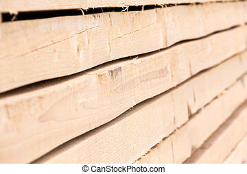 Staced wooden boards closeup