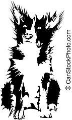 stachelig, hintergrund., hund, silhouette, weißes