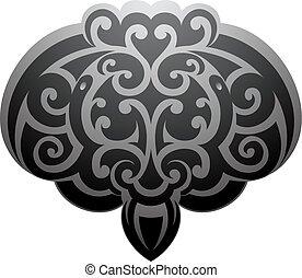stachelrochen, stil, maori, t�towierung