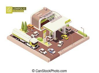 stacja benzynowa, isometric, wektor