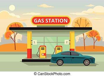 stacja, gaz, benzyna
