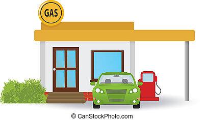 stacja, gaz
