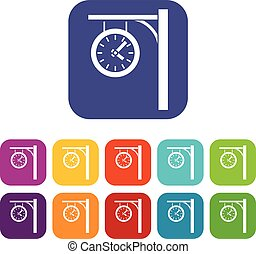 stacja, komplet, zegar, ikony
