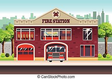 stacja, ogień