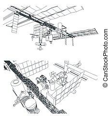 stacja, orbitalny, przestrzeń