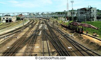 stacja, pociąg, timelapse