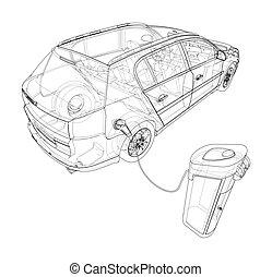 stacja, pojazd, ładujący, elektryczny, sketch., wektor