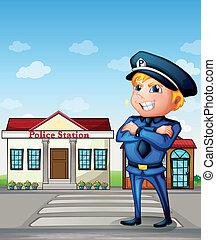 stacja, policja, wszerz, policjant