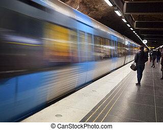 stacja, sztokholm, pociąg, metro