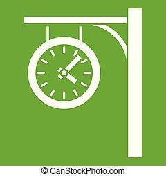 stacja, zielony, zegar, ikona