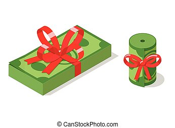 Stack and roll of banknotes tied with ribbon bow.