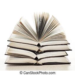 stack, av, öppna, böcker