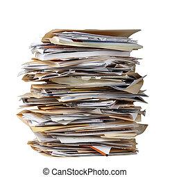 stack, av, dokumentsamling mapp