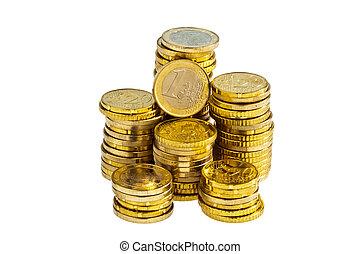 stack, av, euro, mynter