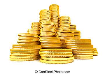 stack, av, guld peng