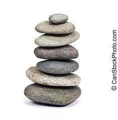 stack, av, kiselsten, stenar, isolerat, vita