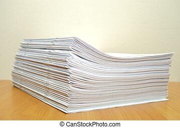 stack, av, vit, journalen