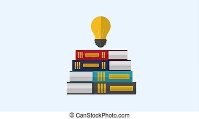 stack books and creativity bulb idea