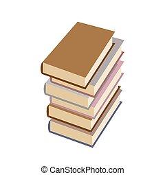 Stack books on white background. Vector illustration