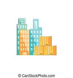 stack boxes carton with cityscape