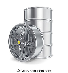 Stack Car Alloy Rim isolated on white background. 3d illustration