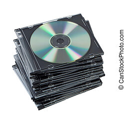 Stack CD discs in box isolated.