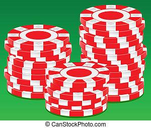 Stack chips on green background. Vector illustration.