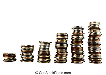 Stack coin isolated on white background