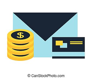 stack coins dollar bank credit card email fintech