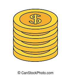 stack coins dollar money on white background