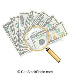 stack., concept, financieel succes, geld, vrijstaand, bankpapier, vector., witte