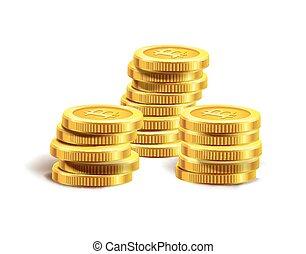 stack., dourado, moedas, pilha, bitcoin