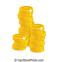 Stack gold Chinese yuan or Japanese yen isolated cartoon