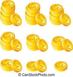 Vector set of different stack gold coins.