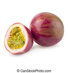 stack image of Passion fruit isolated on a white background with clipping path