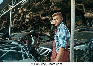 stack, mekaniker, skrotupplag, manlig, bilar