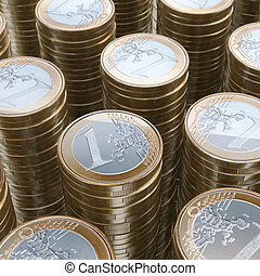 Stack Of 1 Euro Coins (Close-Up Picture)