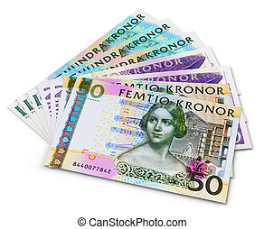 Stack of 100, 50 and 20 swedish krona banknotes