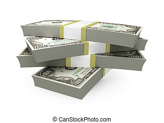 Stack of $100 bills - isolated on white background